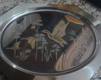 Vintage octagonal tray with gold handles/tray with flying ducks