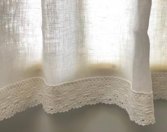 White Linen Curtains, Kitchen Curtains, Window Valances, Cafe Curtains,  Crochet Lace Trim