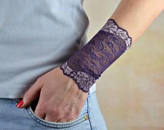 Violet Lace Cuff Bracelet Wrist Tattoo Cover up Wristband Lace Wrist Cuff Lace Jewelry Stretch Bracelet Lace Arm Band Lace Bracelet w4254