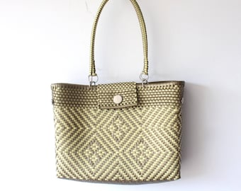 Beige & Gold Mexican woven plastic bag with long handles,  Mexican Tote, Oaxacan Mexico Woven Handbag, Ethnic Mexican