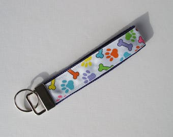Dog Paw Key Fob, Dog Bone Key Chain, Dog Key Chain, Dog Paw Key Chain, Dog Gift, Puppy Gift, Dog Bone Key Fob