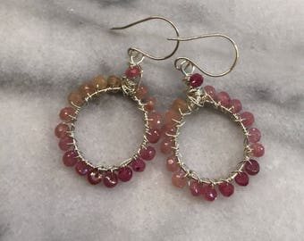 Pink Sapphire and Sterling Silver Hoops  Wire Wrapped Hoop Earrings    Genuine Pink Sapphire  Ombre Pink Sapphire  Valentine's Gift