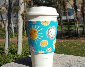 Fabric coffee cozy / coffee cup holder / coffee sleeve -- SUNSHINE on aqua