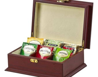 Personalized Tea Box Gift Tea Bag Organizer Gift For Tea Lover Wooden Tea Box Engraved Keepsake Custom Tea Storage Box