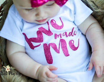 Love made me newborn girl gown.newborn girl pink glitter outfit.baby girl take home outfit.newborn girl hospital outfit.baby girl shower gif