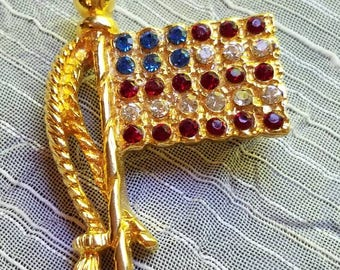 Vintage Rhinestone Gold Tone American Flag Brooch or Pin 1980s Red White and Blue