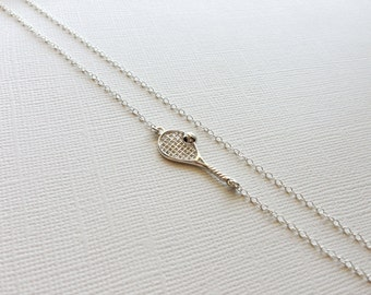 Tennis Racket Necklace in Sterling Silver