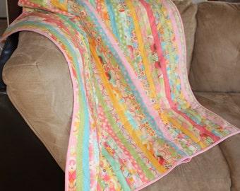 Baby Girl Quilt, Girl Blanket, Strip Quilt, Handmade, Swanky, Moda, Pink, Yellow, Bright