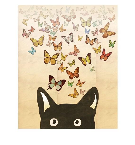 Cat Art Print Butterfly Art Print Black Cat Digital