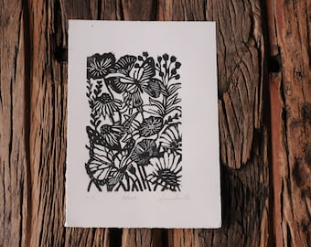 Hand Carved Wood Block Print Black & White Flowers