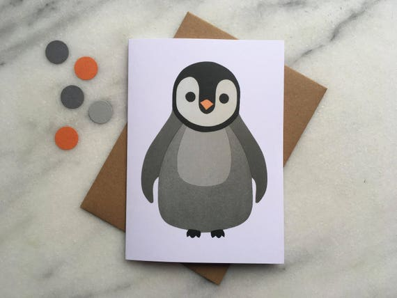 Penguin Card Penguin New Baby Card Penguin Birthday Card