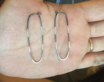 20% OFF SALE! Precision Striped Oxidized Silver Elongated Hoop Earrings.  003
