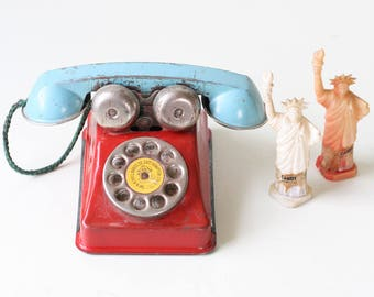 Vintage Toy Telephone, Red White Blue, Hill Brass Co
