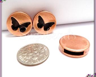 4 Round Butterfly Slider - 10mm Flat Leather Slider - Copper Butterfly Slider - Sliders For Leather