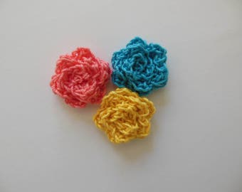 Crocheted Roses - Coral, Yellow and Blue - Cotton Flowers - Crocheted Flower Appliques - Crocheted Flower Embellishments - Set of 3