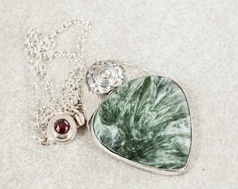 Green Seraphinite Stone Necklace in Sterling Silver Handmade