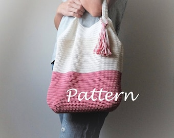 CROCHET PATTERN Crochet Tote Bag PATTERN, Bucket Bag, Boho Crochet, Boho Bag, Purse Pattern, Hand Bag, Slouchy Bag, Crochet Sac, Summer Tote