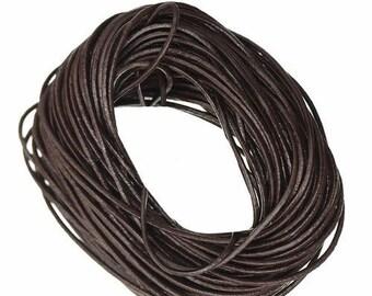 Coffee o1.5mm brown leather cord (1 M)