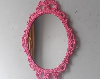 Pink Wall Mirror In Hand Painted Vintage Metal 17x12 Frame Girls Room Or Nursery
