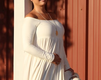 20% OFF! Sunshine plus size dress/off the shoulder/maxi dress/variable sleeves length/variable dress length/plus size clothing/strapless/