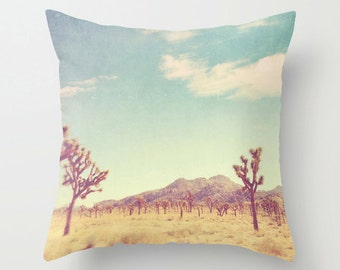 pillow cover, decorative throw pillow, Joshua Tree pillow case, desert, Palm Springs pillow, blue yellow, southwest decor, accent pillow, CA