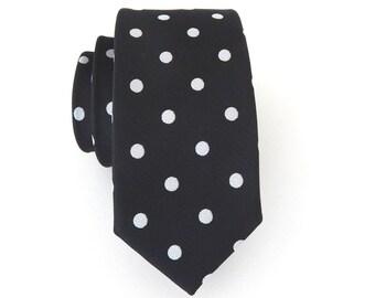 Mens Tie. Necktie Black Silver Dot Mens Skinny Tie