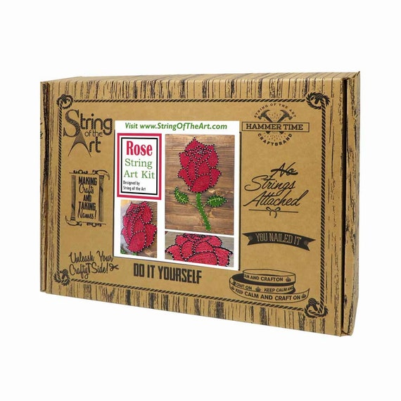 Diy string art kit rose rose string art rose crafts kit diy string art kit rose rose string art rose crafts kit rose decor diy kit w string pattern nails instructions stained wood solutioingenieria Images