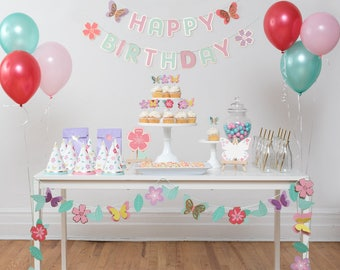 Butterfly Garden 12 Guest Complete Party Set | Party Package | Birthday Party Decoration | Banner, Garland, Cupcake Topper, Party hat, Cards