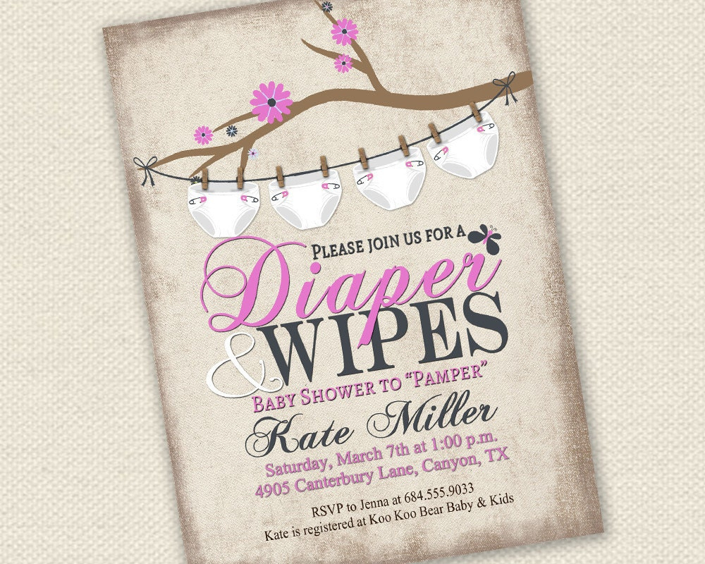 Baby shower invitation diaper and wipes baby shower zoom filmwisefo Gallery