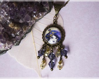 Purple Jewelry, Bronze Necklace, Jewelry Gift, Bronze Jewelry, Purple Necklace, Flower Fairy Jewelry, Purple Pendant, Fairy Jewelry, Gifts