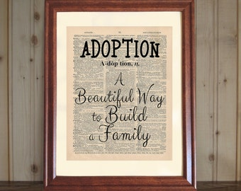 Adoption Dictionary Print, Adoption Quote, Adoption Print, Adoption Saying, Adoption Wall Art, Baby Adoption Gift, Gift for Adoptive Parents