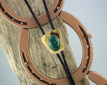 Western Bolo Tie - Dark Green Aventurine Bolo Tie -Cowboy Bolo Tie - Brass Bolo Tie  with a Natural Dark  Green Aventurine Stone