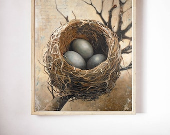 Three Bird Nest Art print, Bird's Nest Art Print on Paper, Poster Print of a Bird Nest with Three Eggs, Bird Nest Print on Paper
