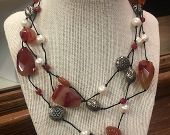 Extra Long Carnelian and Pearl Hand Knotted Statement Necklace