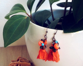 Boho earrings Flowers & India Sari Silk earrings, flowers earrings, neon orange earrings, whimsical earrings nature earrings whimsy earrings