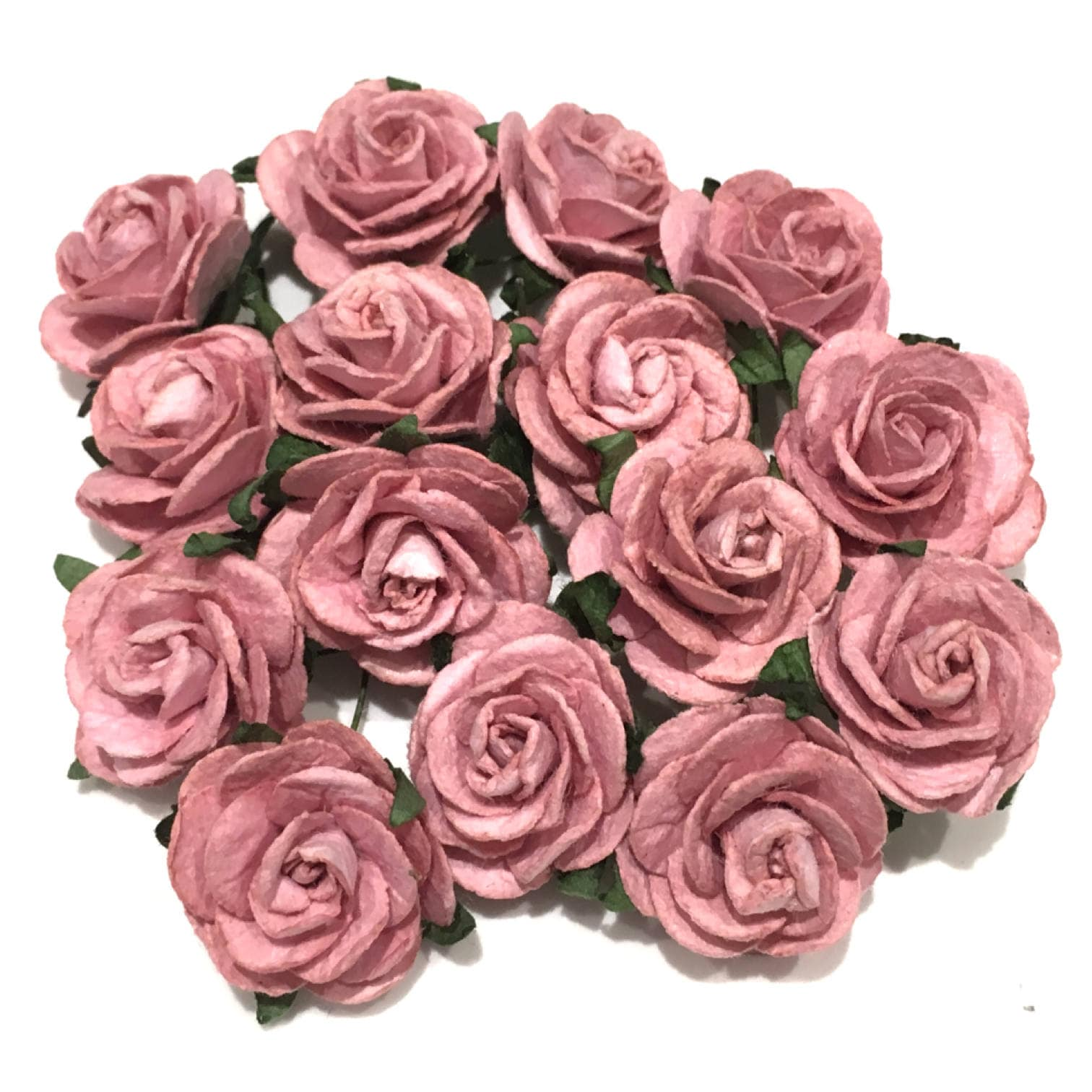 Dusky Pink Open Mulberry Paper Roses Or022