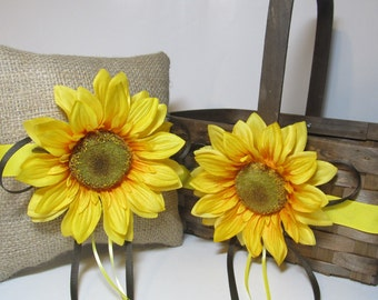 Rustic Sunflower Ring Bearer Pillow and Flower Girl Basket For Your Country Woodland Wedding Day