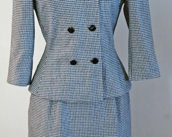1980's LeSuit 2-piece Black & Ivory Houndstooth Suit Size 10