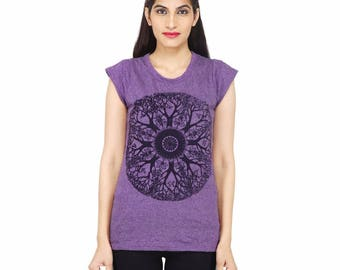 Women's mandala t-shirt, yoga t-shirt, hippie clothing, festival wear, hipster, tribal, yoga wear, meditation, boho, Indian clothing