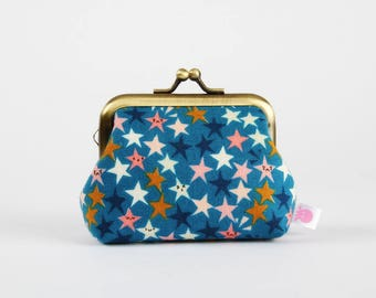 Metal frame change purse - Starstruck teal - Big mum / Japanese fabric / Cotton and Steel / Pink ochre blue white stars