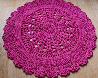 Fuchsia pink crochet doily rug