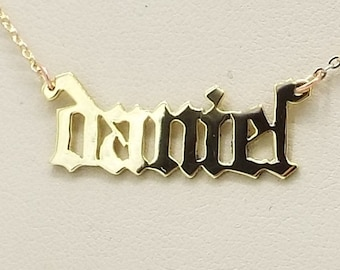 old english  name plate . 14k gold .  with a chain