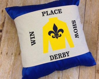 Yellow Jockey Silk pillow wrap, Derby pillow wrap, Kentucky Derby decor