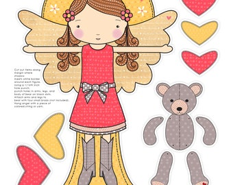 Kindness Angel - Once Upon An Angel - PDF - Printable Download - Paper Doll - Angel - Paper Play