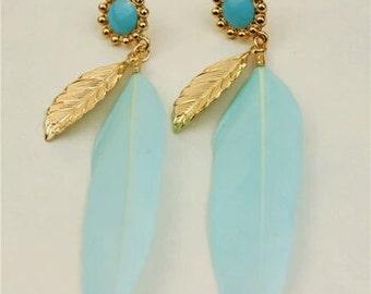 Baby Blue Feather Earrings