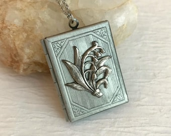 Lily of the Valley Book Locket Necklace, silver book locket pendant, rectangle locket, romantic gift, photo locket, teacher gift, book lover