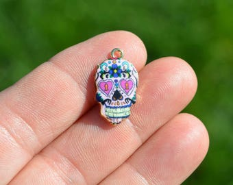 1 Gold Plated and Enamel Sugar Skull Charm GC2118