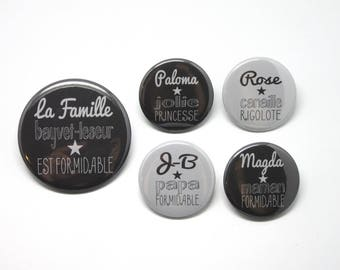 1 magnet 56 mm + 4 magnets 37mm family personalized great grey