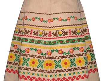 ribbon print skirt - tan - alpine folk trim inspired hand screen printed design