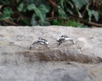 Dolphin Earrings, Solid Sterling Silver Stud Earrings, Nautical Jewelry, Sea Jewelry, Dolphin Jewelry